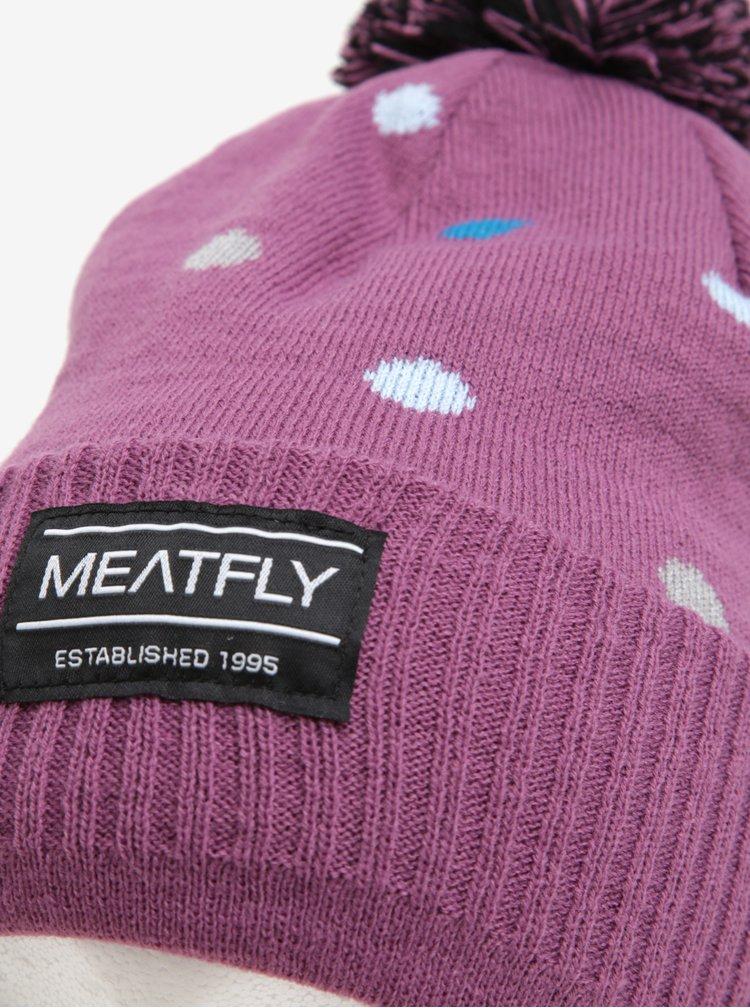 Caciula mov cu buline si pompon pentru femei - MEATFLY Dot Beanie