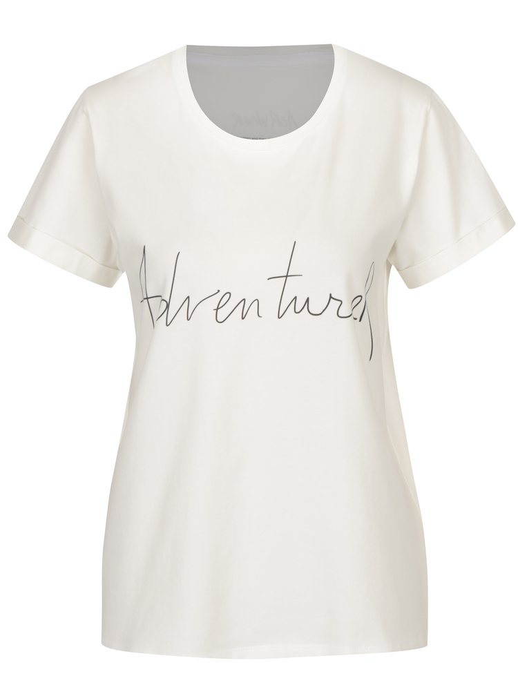 Tricou crem&negru cu print text  Aer Wear Adventurer