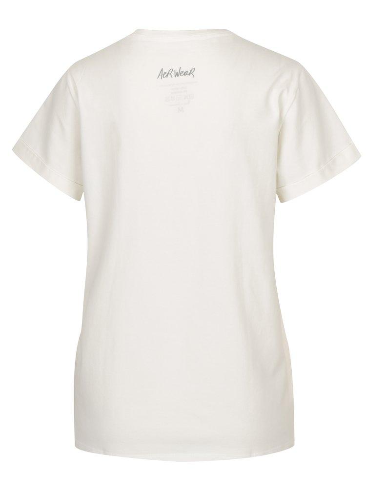 Tricou crem&rosu cu print text pentru femei  Aer Wear Amore
