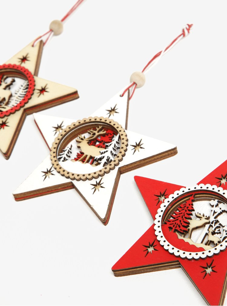 Súprava troch vianočných ozdôb v tvare hviezdy CGB