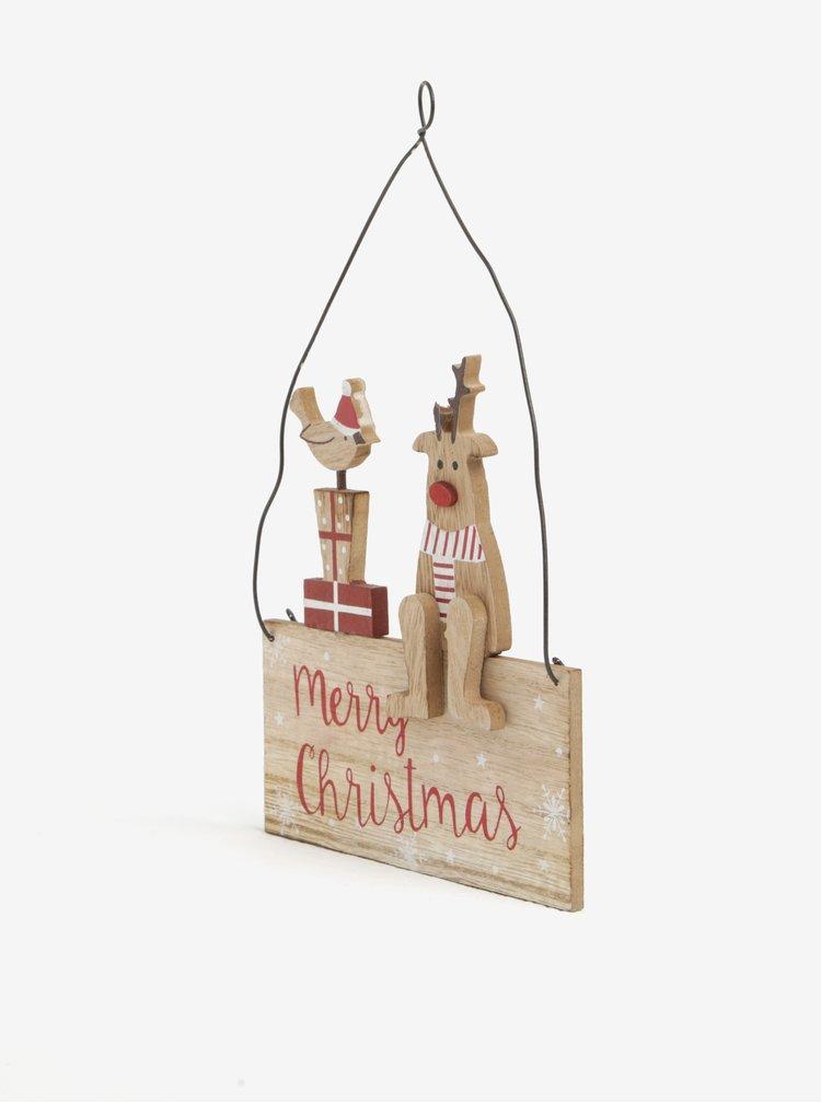 Vánoční dekorace Merry Christmas CGB Robin & Reindeer Sign