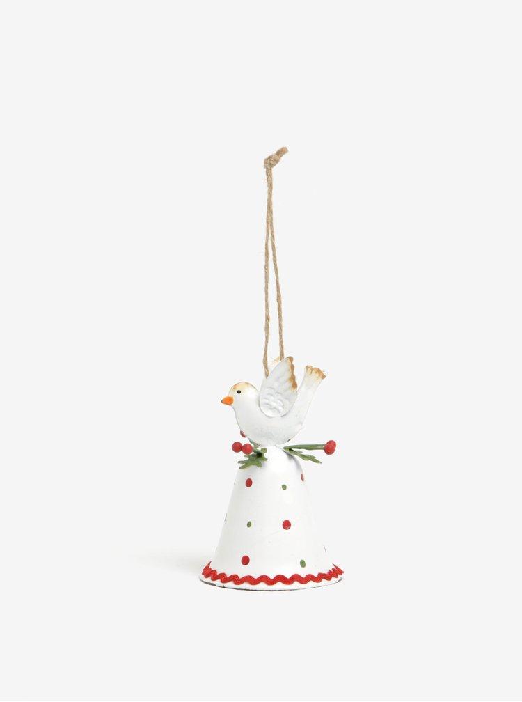 Červeno-biely vianočný závesný zvonček CGB