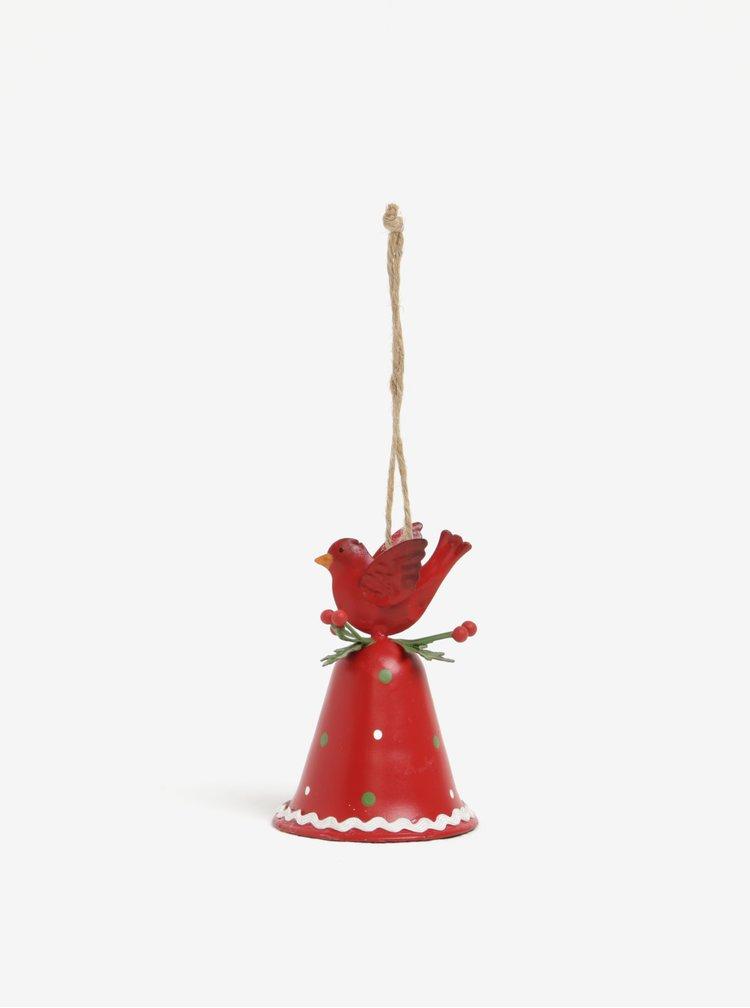Červený vianočný závesný zvonček CGB