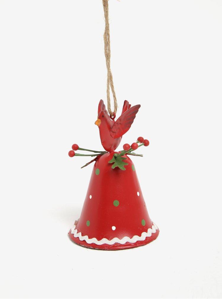 Červený vánoční závěsný zvonek CGB