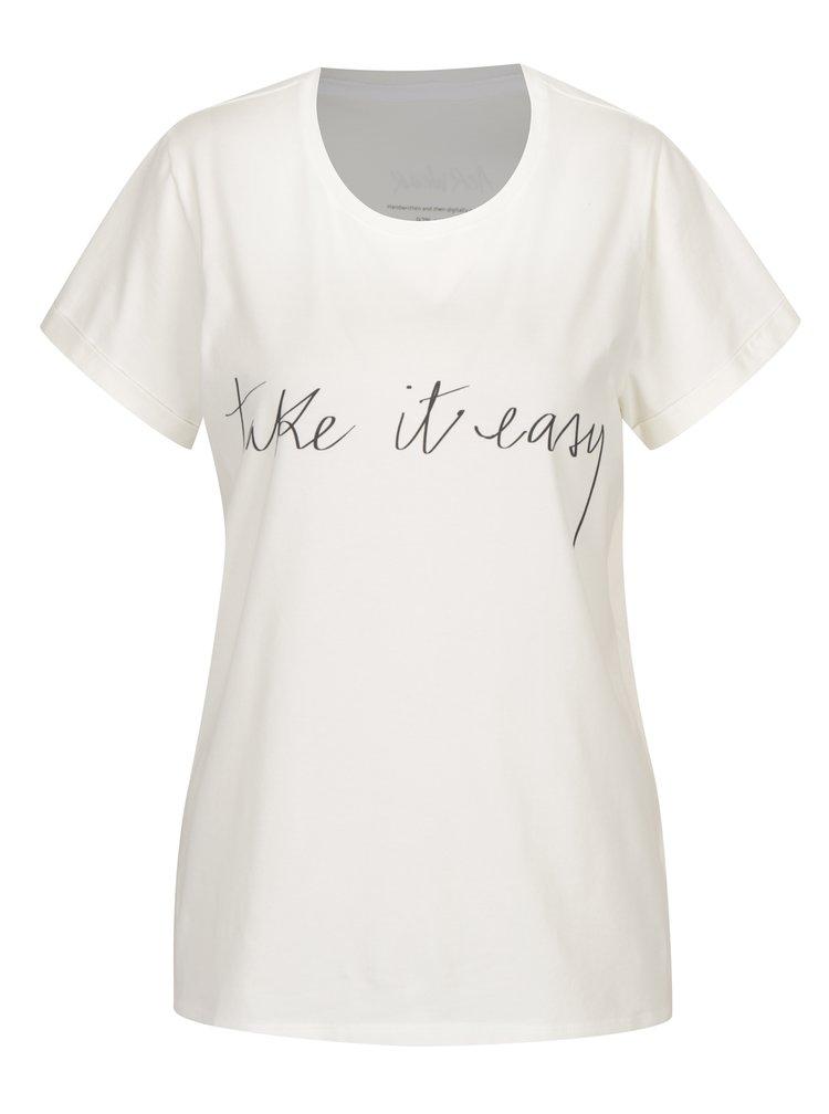 Tricou crem&negru cu print text pentru femei Aer Wear Take It Easy