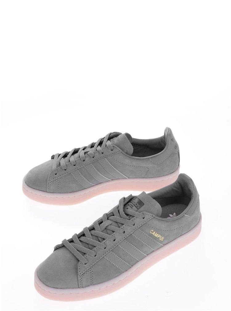 Tmavě šedé dámské kožené tenisky adidas Originals Campus