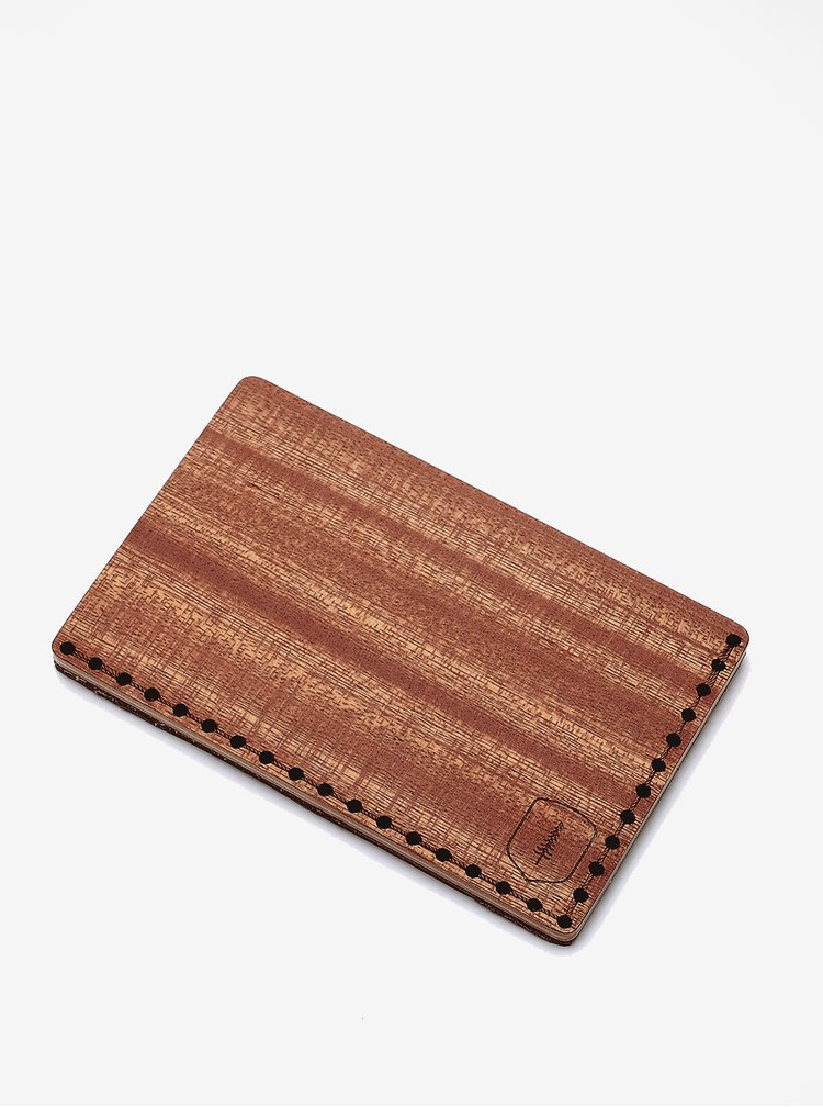 Hnědý dřevěný vizitkovník BeWooden Red Note