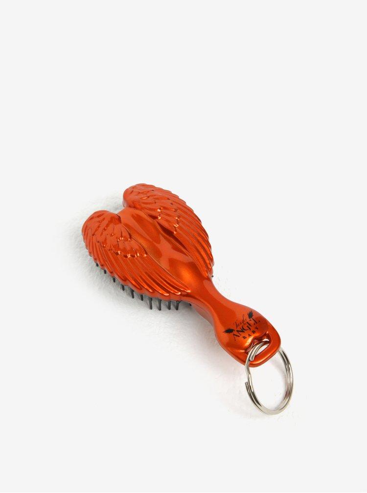 Oranžová klíčenka hřeben na vlasy ve tvaru andělských křídel Tangle Angel Baby