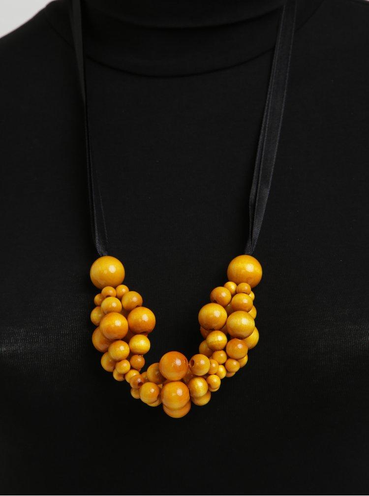Černo-žlutý dřevěný náhrdelník KO-RA-LE Wav