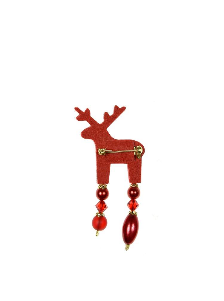 Červená malá brošňa jeleň s komponentmi Preciosa Components Deers