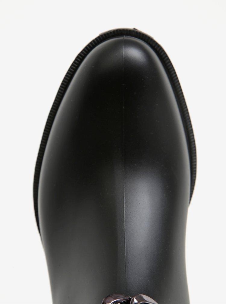 Černé dámské kotníkové holínky s ozdobným páskem OJJU
