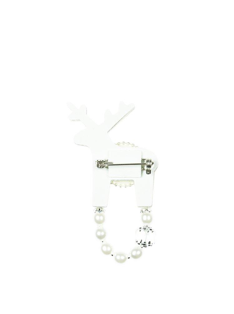 Malá brož jelínek ve stříbrné barvě s komponenty Swarovski Crystals Deers