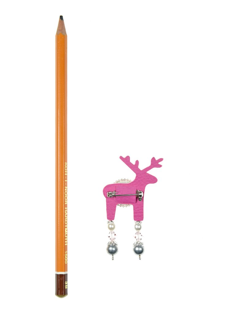 Svetloružová malá brošňa jeleň s komponentmi Swarovski Crystals Deers
