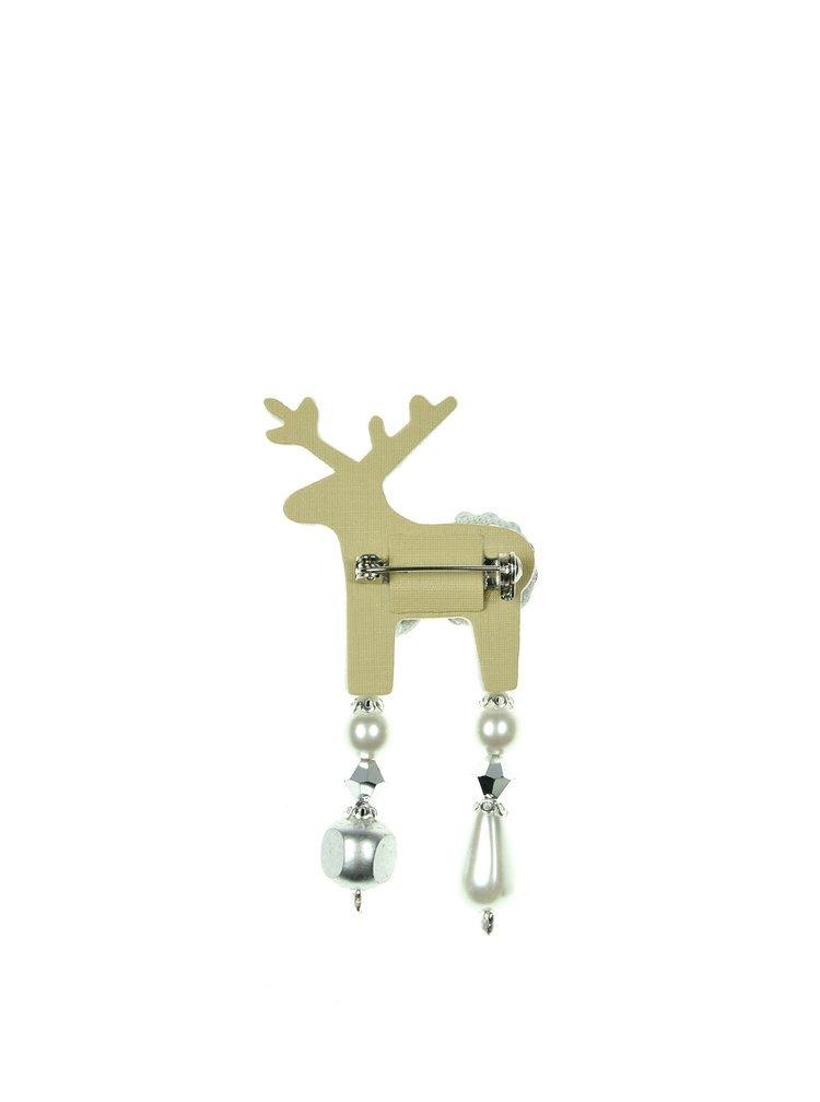 Krémová brož jelínek s komponenty Preciosa Components Deers