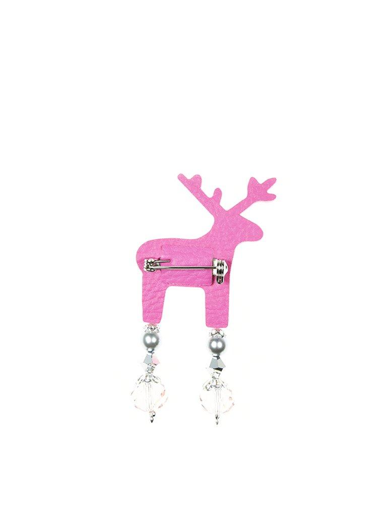 Svetloružová malá brošňa v tvare jeleňa s komponentmi Preciosa Components Deers