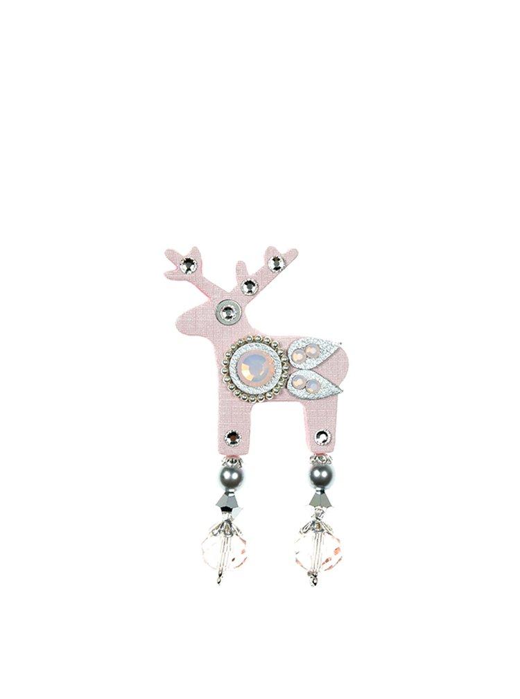 Světle růžová malá brož jelínek s komponenty Preciosa Components Deers