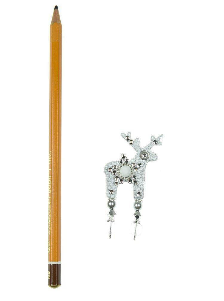Malá brošňa jeleň v striebornej farbe s komponentmi Preciosa Components Deers