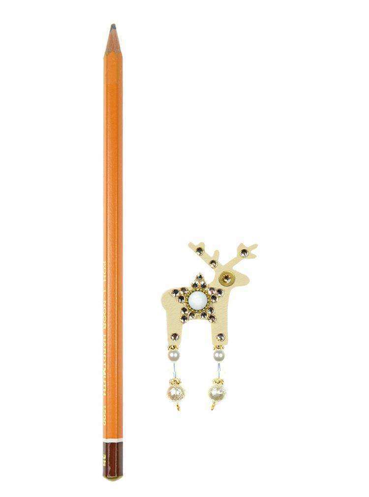 Krémová malá brož jelínek s komponenty Preciosa Components Deers