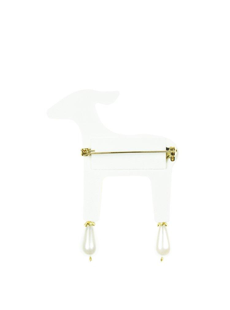 Bílá brož laň s komponenty Swarovski Crystals Deers