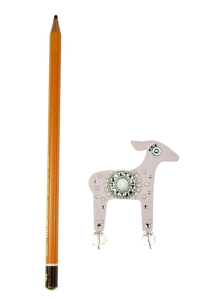 Světle růžová brož laň s komponenty Swarovski Crystals Deers