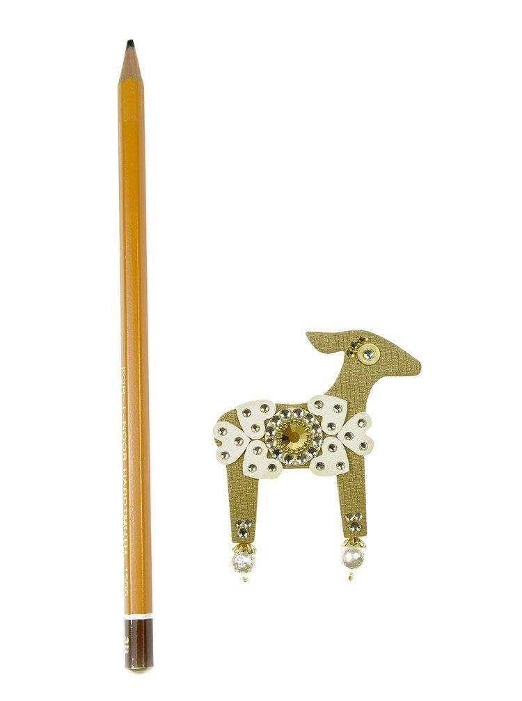 Brož laň ve zlaté barvě s komponenty Swarovski Crystals Deers