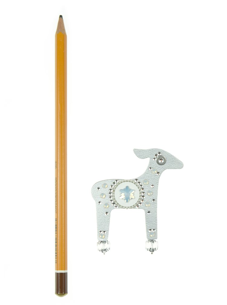 Brož laň ve stříbrné barvě s komponenty Swarovski Crystals Deers