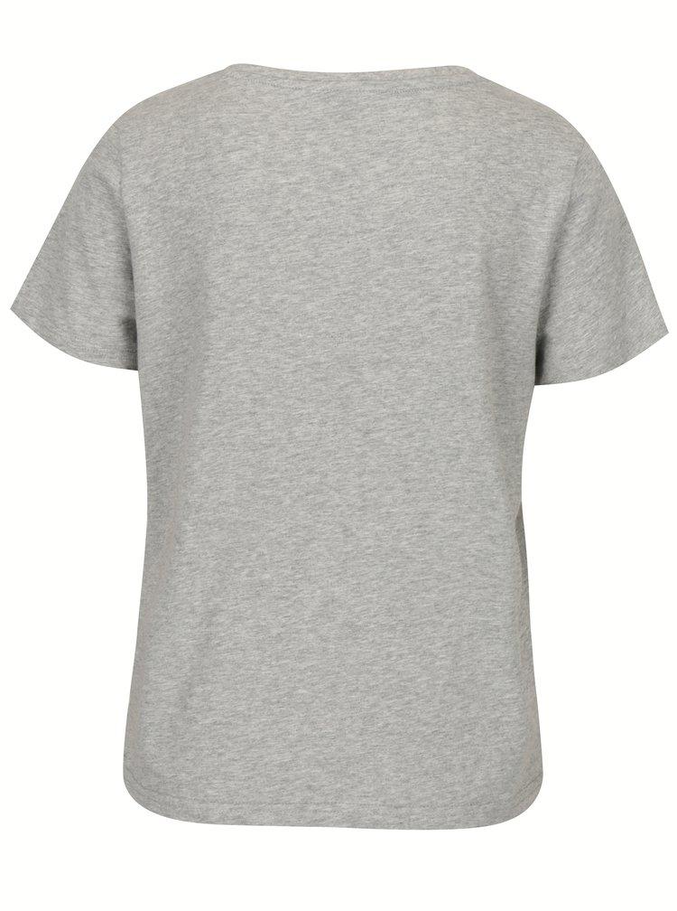 Světle šedé tričko s motivem zavřených očí VERO MODA Eye