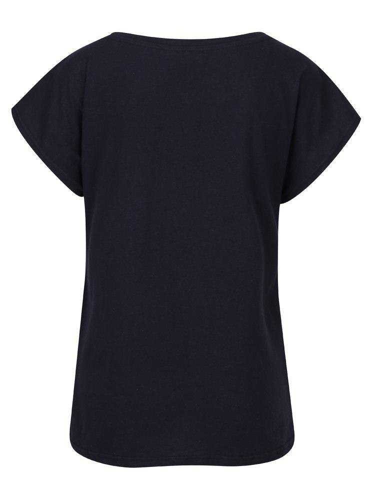 Tmavě modré tričko s výšivkou a flitry VERO MODA Nina