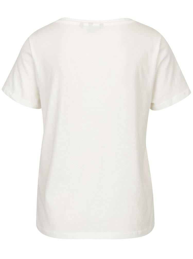 Krémové tričko s motivem zavřených očí VERO MODA Eye