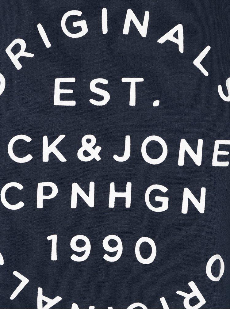Bluza bleumarin&crem cu print text Jack & Jones Originals Softneo