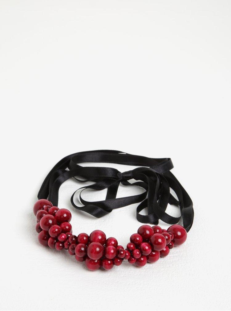 Černo-vínový dřevěný náhrdelník KO-RA-LE Wav