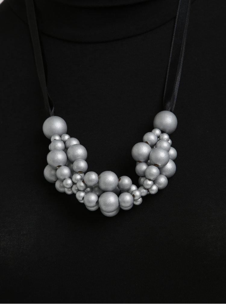 Dřevěný náhrdelník v černo-stříbrné barvě KO-RA-LE Wav