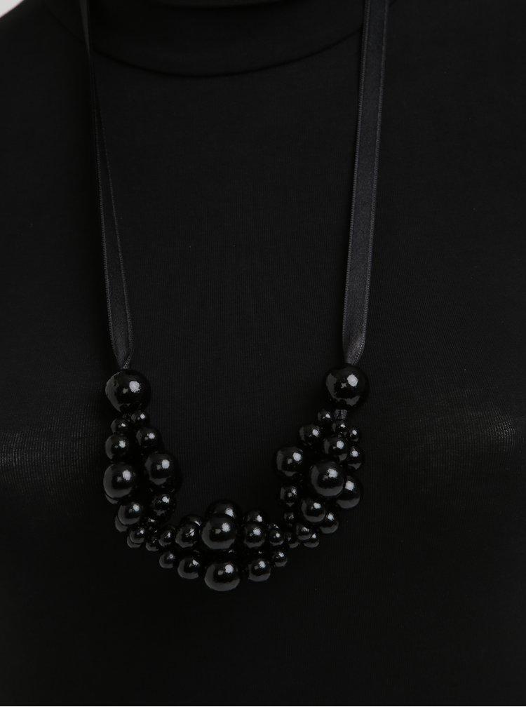 Colier handmade cu margele negre din lemn cu aspect lacuit - KO-RA-LE Wav