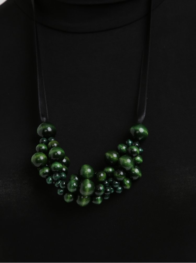 Černo-zelený dřevěný náhrdelník KO-RA-LE Wav