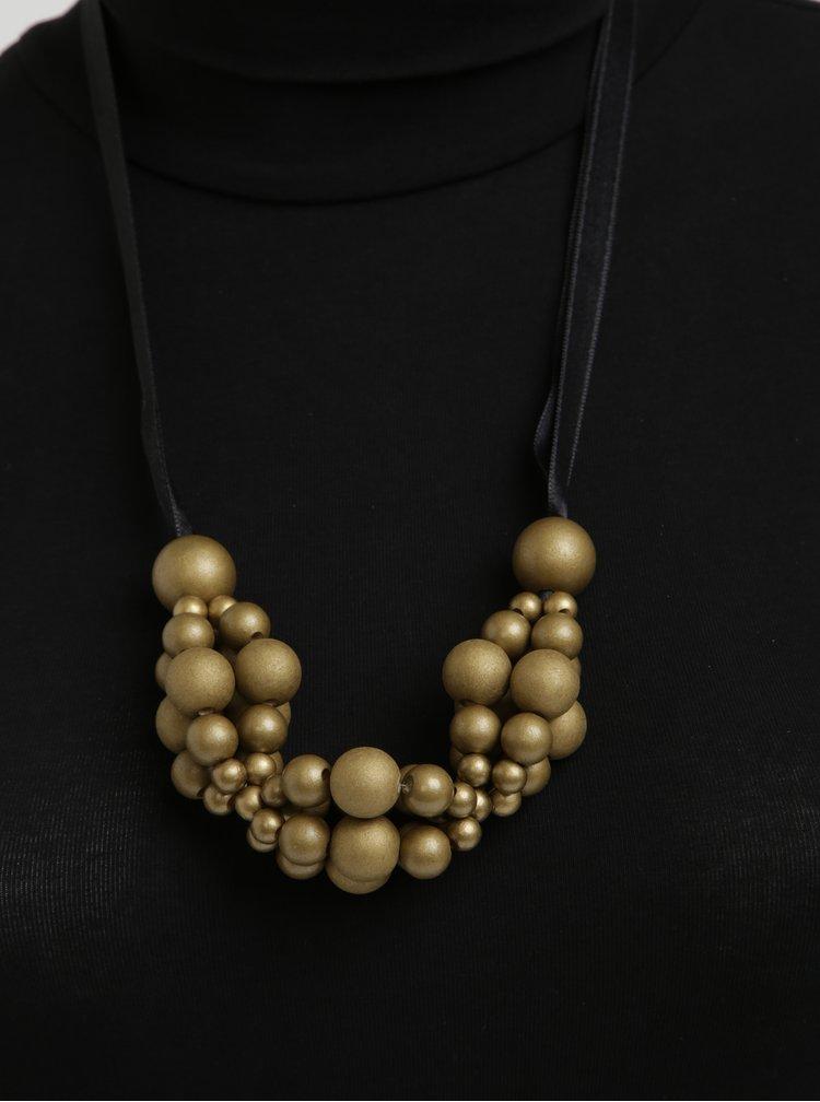 Colier handmade cu margele aurii din lemn - KO-RA-LE Wav
