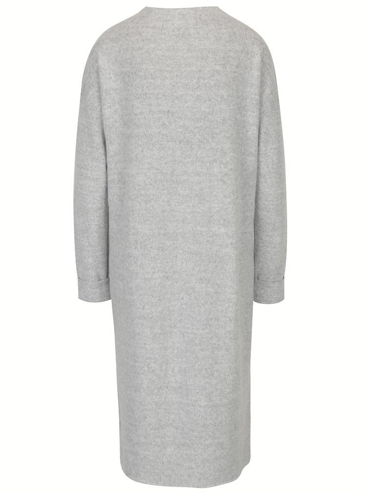 Světle šedé žíhané šaty s dlouhým rukávem VERO MODA Chula