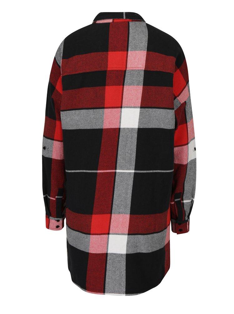 Červeno-černá dlouhá kostkovaná košile Noisy May Erik
