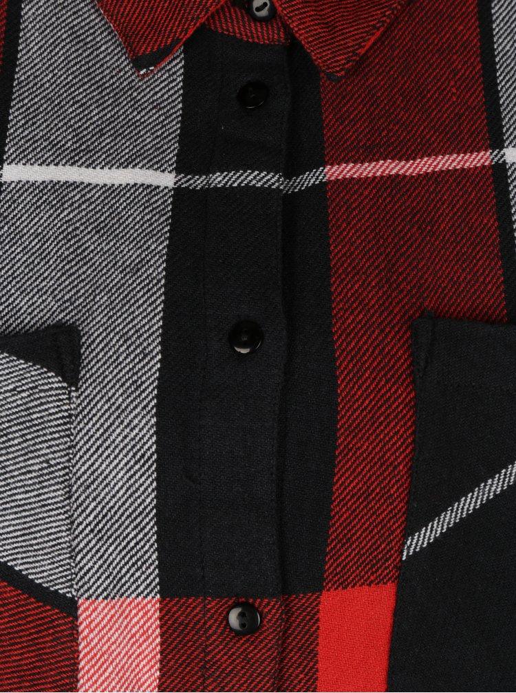 Rochie - camasa in carouri negru & rosu si maneci ajustabile - Noisy May Erik