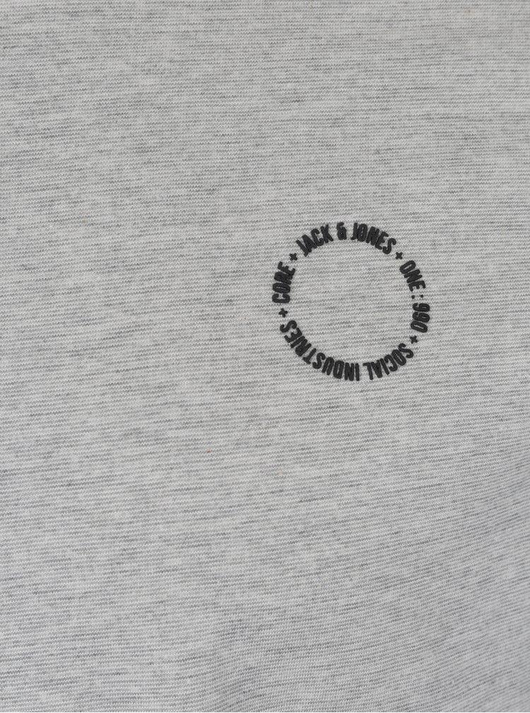 Bluza gri deschis melanj cu print logo Jack & Jones Core Mesut Tee