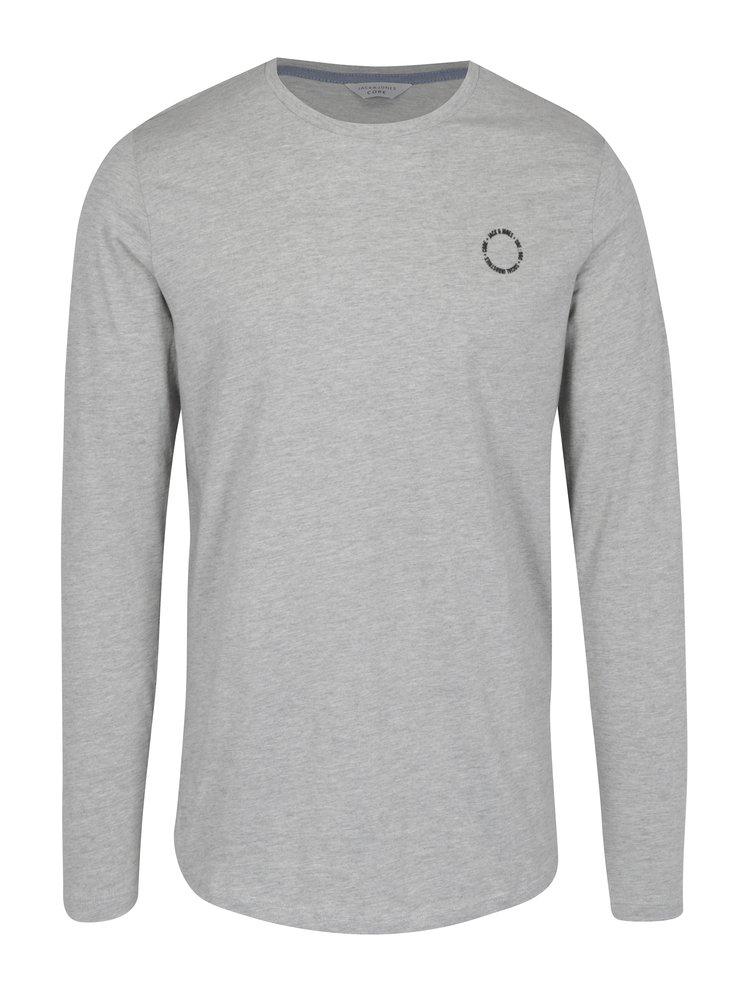 Světle šedé tričko s dlouhým rukávem Jack & Jones Core Mesut Tee