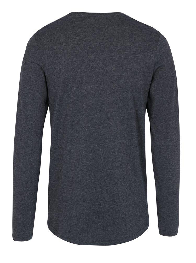Šedo-modré žíhané tričko s dlouhým rukávem Jack & Jones Core Mesut Tee