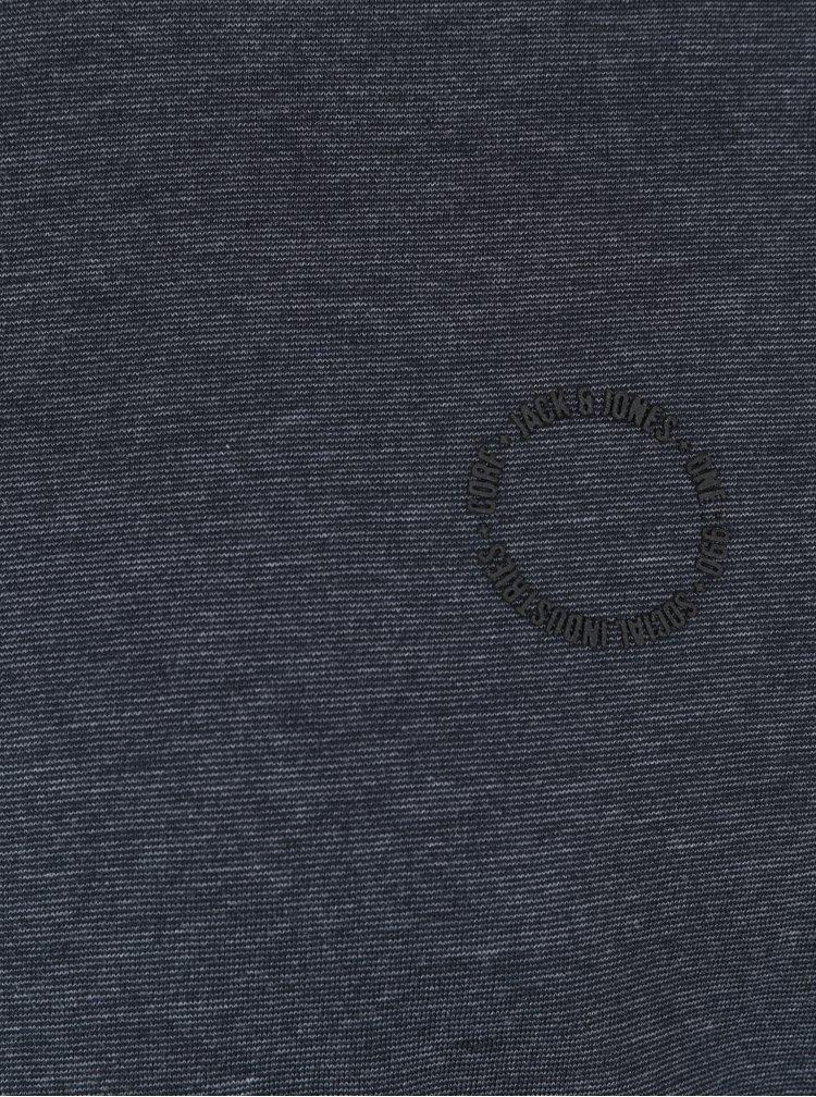 Bluza albastru inchis melanj cu print logo Jack & Jones Core Mesut Tee