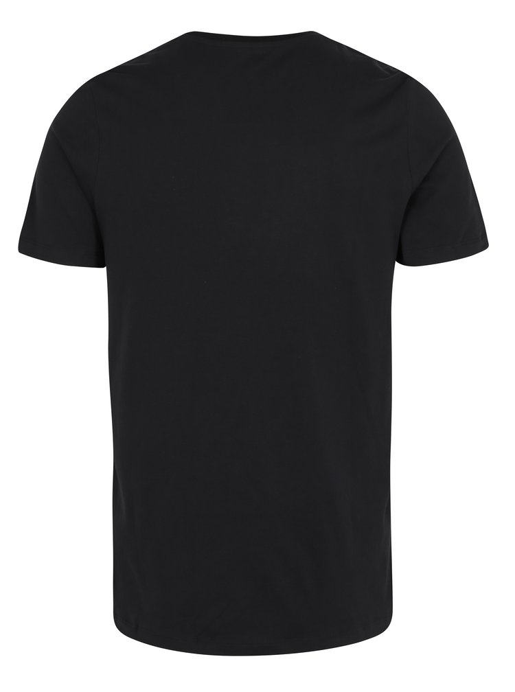 Tricou negru&alb cu print text Jack & Jones Core Cutter Tee