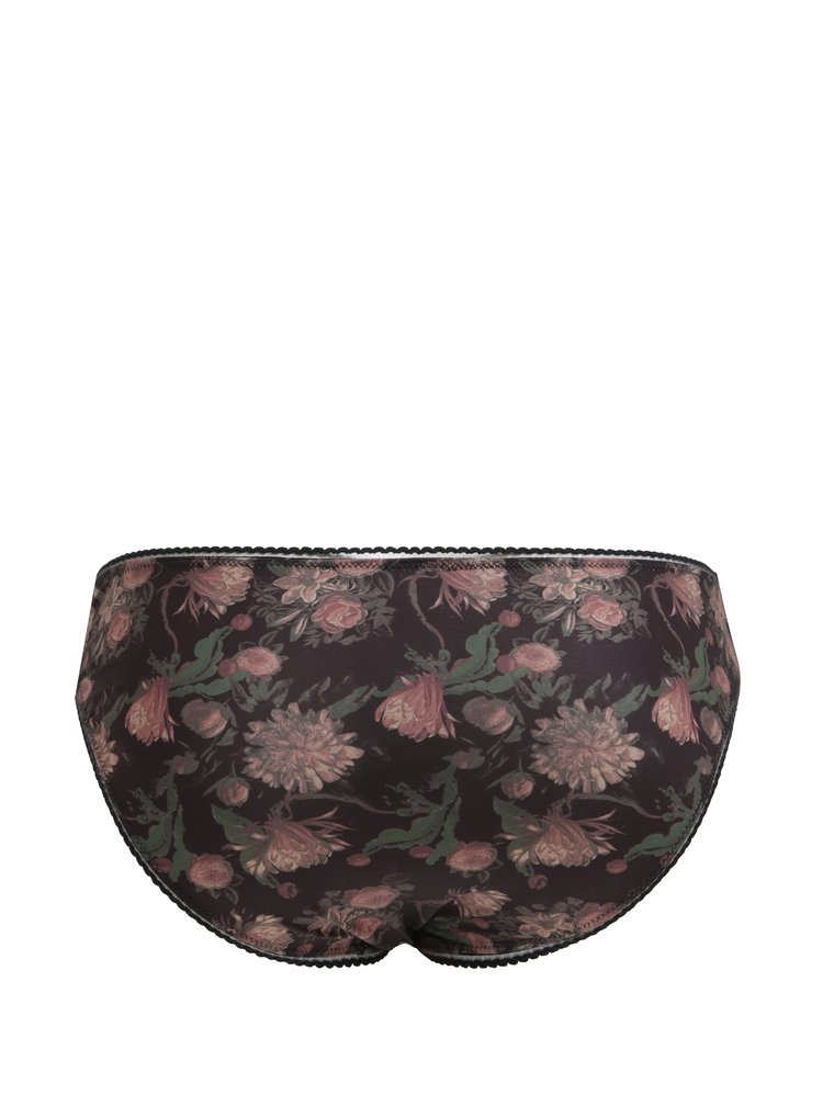 Černé květované kalhotky Y.A.S Flora