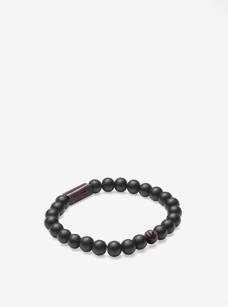 Černo-hnědý náramek BeWooden Nox Wenge Bracelet