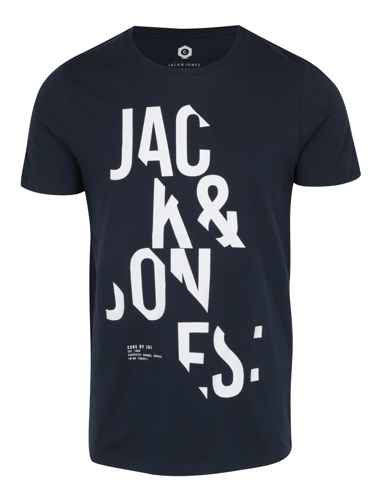 Tricou bleumarin&crem cu print text Jack & Jones Core Cutter Tee