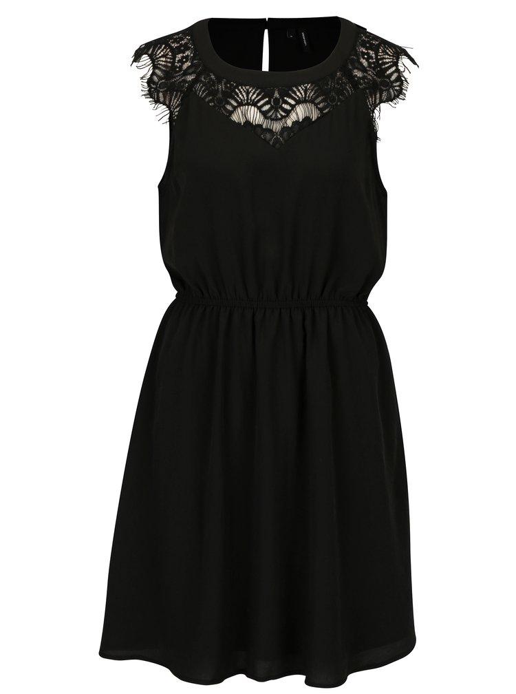 Černé šaty s krajkou v dekoltu VERO MODA Lila