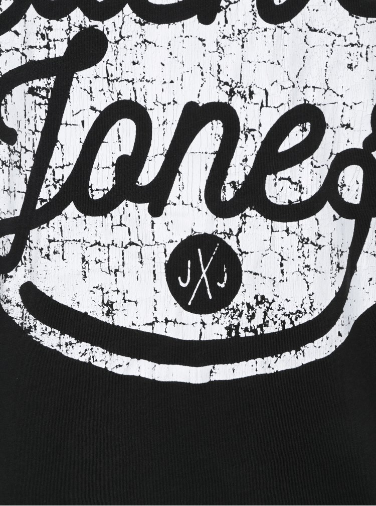 Tricou negru&alb cu print text Jack & Jones Originals Stood Tee
