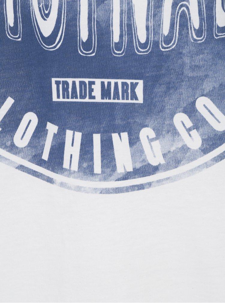 Tricou crem&albastru cu print text Jack & Jones Originals Stood Tee