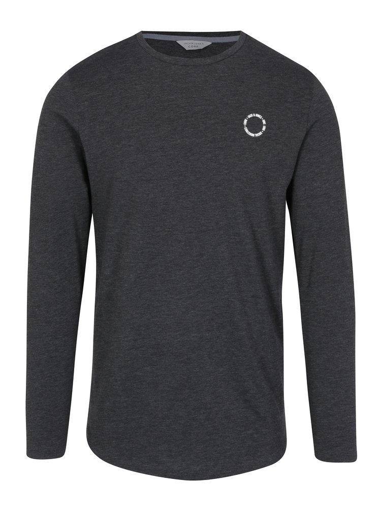 Bluza gri inchis melanj cu print logo  Jack & Jones Core Mesut Tee